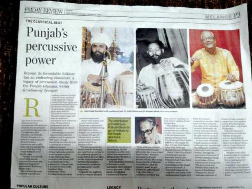 Newspaper published report on Punjab Gharana Tradition linked to other gharanas in Chennai