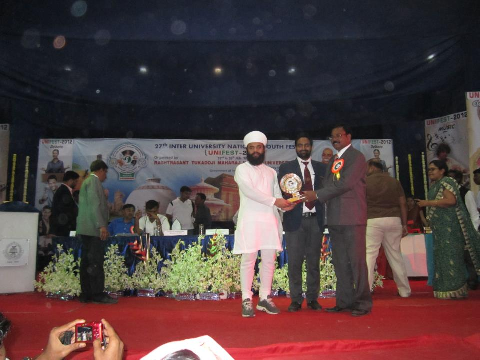 Winner of inter-university national youth festival of 2012 in nagapur Maharashtra in the category of percussion.