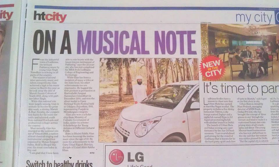 Hindustan Times News Paper Published The Story Of Namdhari Musician — feeling special in Ludhiana, Punjab, India.