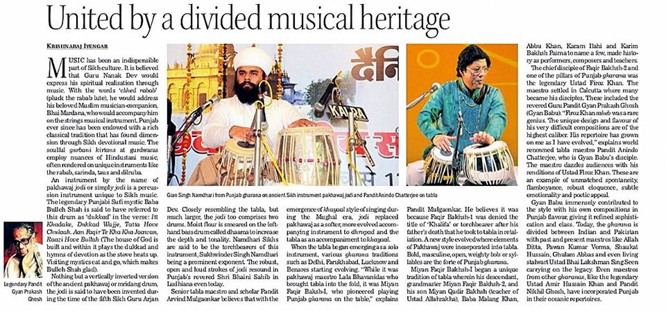 the tribune published a musical note on legacy of percussion with pandit anindo chatterjee — in India.